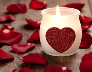 LOVE heart candle flower