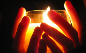 Centering-Prayer-hands holding candle