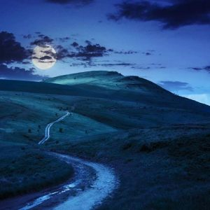 moonrise over hills