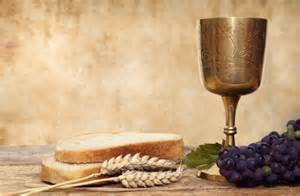 Communion cup, grapes, wheat