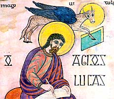 Illustration of Saint Luke from the Lindisfarne folio