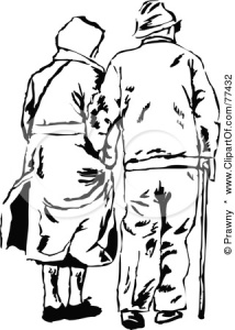 Clipart Illustration  -  Black And White Senior Couple