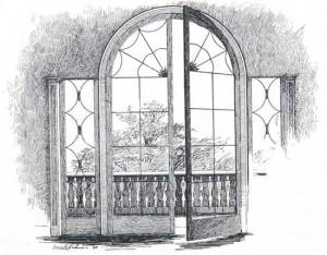 french window in Taylor House  (Some Old Dorchester Houses)