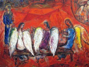 Abraham and the Three Angels - Marc Chagall