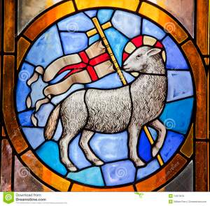 Paschal Lamb-cross stained-glass from Duomo Cathedral-Florence