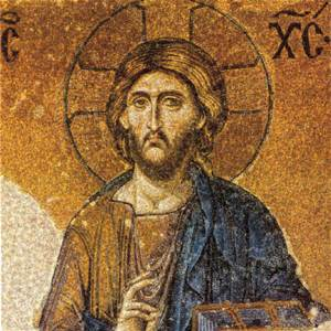 Jesus - mosaic from Deesus panel, south aisle of Hagia Sophia