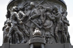A relief showing Confederate soldiers heading off to war, part of the Confederate Memorial at Arlington National Cemetery.