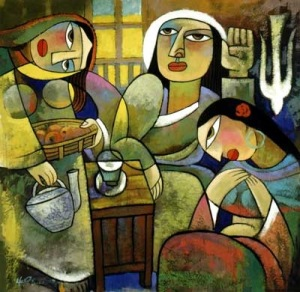 Martha and Mary (Luke 10) by He Qi