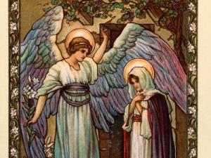 The Annunciation -  Angel Gabriel appearing to Mary, a vintage Christmas greeting illustration (circa 1910)