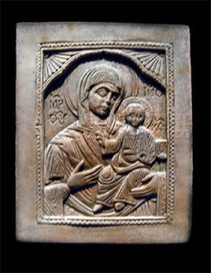 Virgin Mary and Child icon plaque