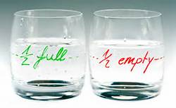glass half full, half empty