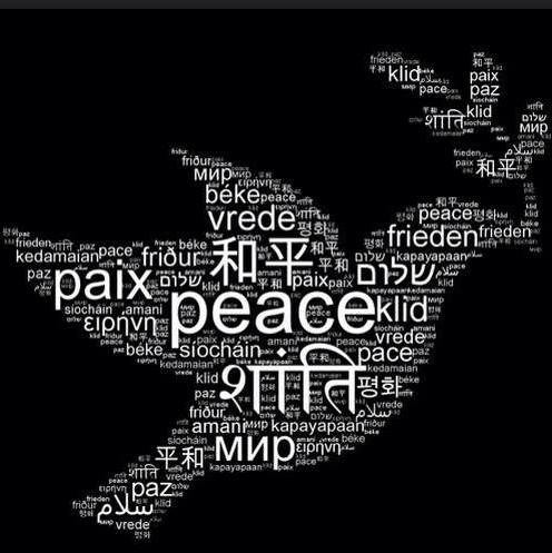 PEACE peace dove different languages