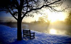 bench-snow-water