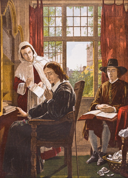 John Milton 1608-1674 English poet dictating Samson Agonistes From Old England's Worthies by Lord Brougham and others published London circa 1880's