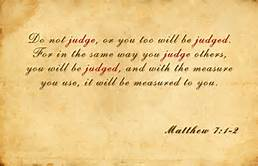 Matt 7-1 judge not