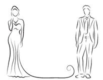 bridegroom-silhouette-sketch-hand-drawing