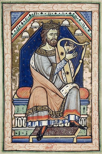 Psalter - Westminster_Psalter_David playing the harp. c. 1200