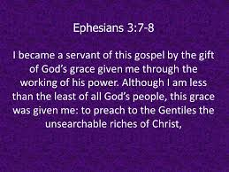Eph 3 servant of this Gospel, words