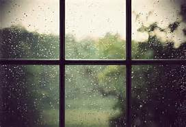 rain on windowpanes