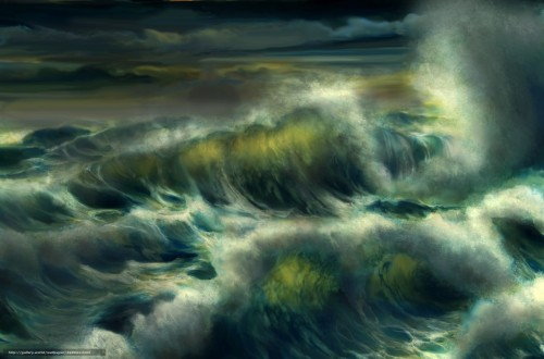 storm, waves drawing
